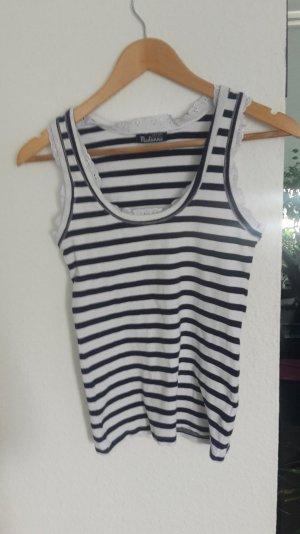 T-Shirt Strips Streifen Rüschen Spitze  Blogger Top Tanktop
