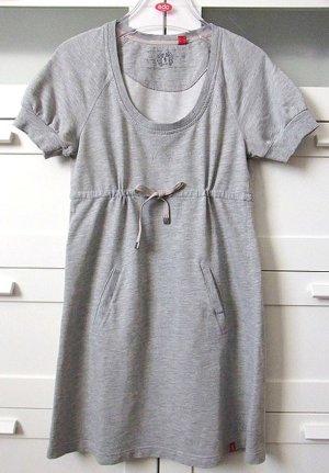 T-Shirt Sweat Kleid Durchzugband Kurzarm Fronttaschen Gr. S Grau