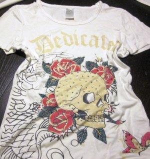 T Shirt T-Shirt Kurzarm weiß Print Strass Ed Hardy Totenkopf Blumen Blüten Schmetterlinge rot Rundhals 34 36 XS S