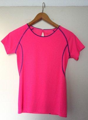 T-Shirt / T Shirt Neon Pink blau Sport
