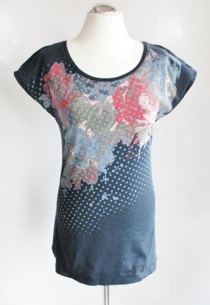 T-Shirt Top Only Größe S 36 Figurnah Jersey Blau Navi Blumen Muster Druck Grafik Eng Flügelärmel Lang