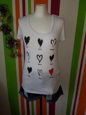 T-Shirt Top Shirt von Vila in der Gr. S (36) mit Print Vorne Herzen weiß