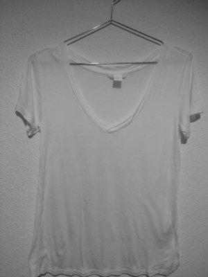 H&M V-Neck Shirt white mixture fibre
