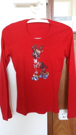 T-Shirt von Benetton Glitzer Rentier  Gr. S