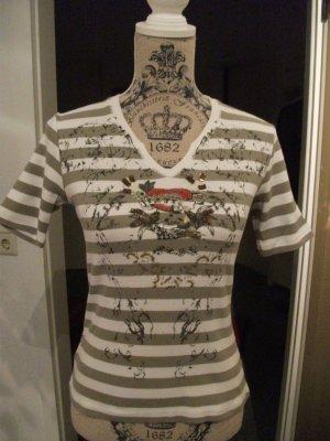 T-Shirt von BIBA mit Streifen, Applikationen, Pailletten + Steinchen, Gr. M (36/38)