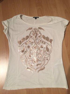T-Shirt von Comma mit kupferfarbenen Pailletten Gr. 38
