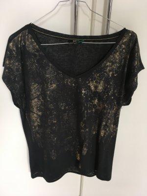T-Shirt von Dept, schwarz mit Gold-Applikationen, Größe M