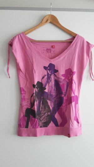 T-Shirt von EDC by Esprit in pink mit Print