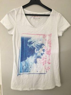 Esprit Camiseta blanco-azul celeste