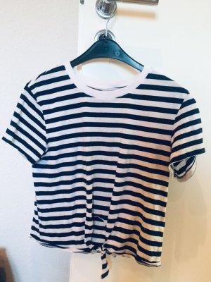 H&M T-shirt korenblauw-wit