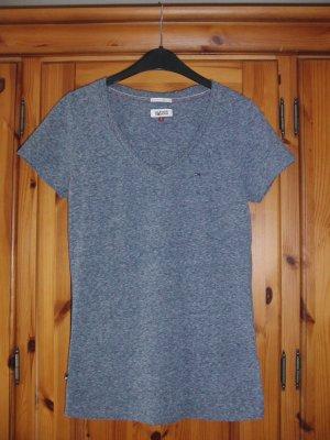 Hilfiger Denim V-Neck Shirt slate-gray cotton