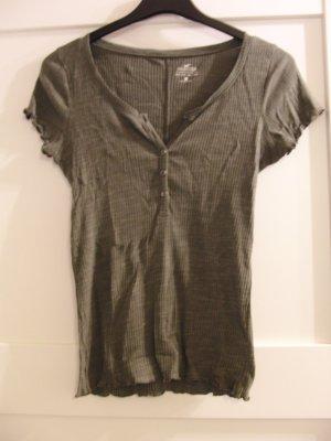 Hollister V-hals shirt khaki-groen-grijs