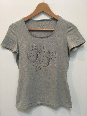 T-Shirt von Joop Jeans in hellgrau mit silbernen Straßsteinen