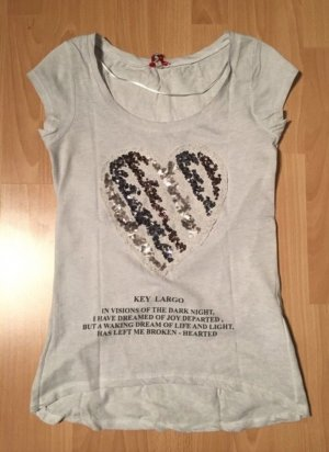 T-Shirt von Key Largo mit Herz Pailletten Statementshirt