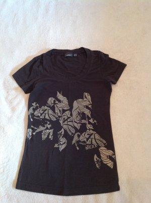 T-Shirt von MEXX in XS dunkelbraun mit Aufduck in beige