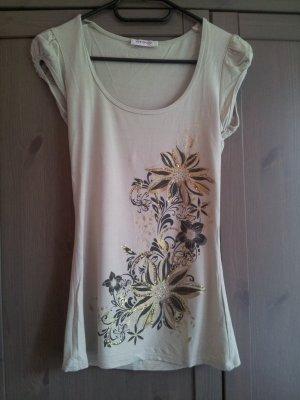 T-Shirt von Orsay in Größe XS, Glitzer, beige, Blumen