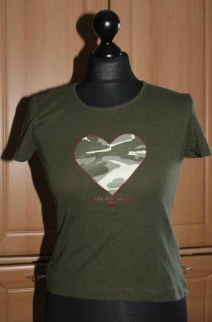 T-Shirt von QS khaki mit Herz Gr. S/36
