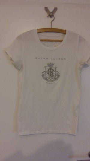 T-Shirt von Ralph Lauren in weiß mit Label mit Pailletten bestickt, Gr. M