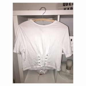 Zara Camiseta blanco-color plata