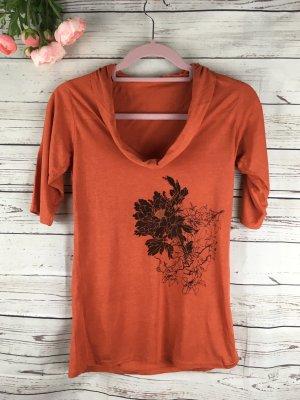 T-Shirt Wasserfallkragen Orange Geblümt