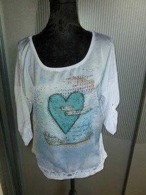 T-Shirt weiß blau Tredy