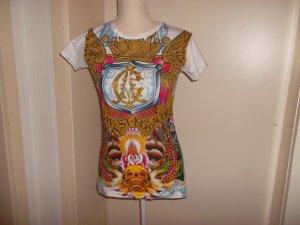 t-shirt, weiss/bunt, steinchen, gr m/l