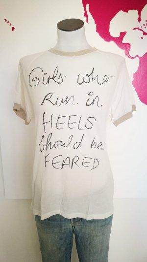 T-Shirt weiß Gold mit Aufdruck Heels Rich and Royal Gr. XS