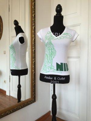 T-Shirt weiß/grün von Nike