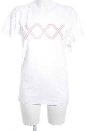 T-Shirt weiß-lachs Casual-Look