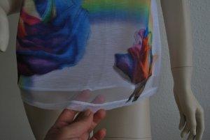 T-Shirt, weiß mit großen bunten Blumen, 3D-Optik von HANLU FASHION, Größe M