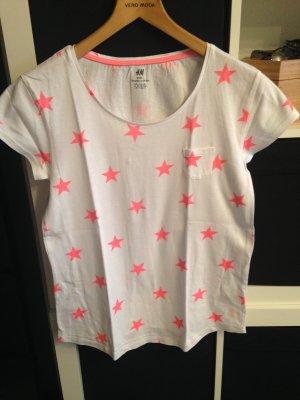 T-Shirt weiß mit neon pinken Sternen Gr. XS/S