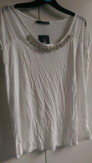 T Shirt weiß mit Perlen Neu