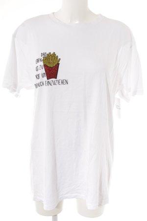 Camiseta blanco estampado temático look casual
