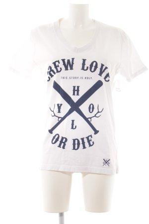 T-Shirt weiß Motivdruck Casual-Look