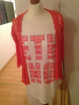 T-Shirt weiß neon Azteken Ethno M L 40