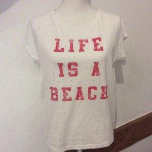 * T-Shirt weiß - Schriftzug rot *