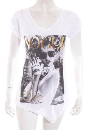 T-Shirt weiß-schwarz Motivdruck