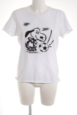 T-Shirt weiß-schwarz Motivdruck Casual-Look