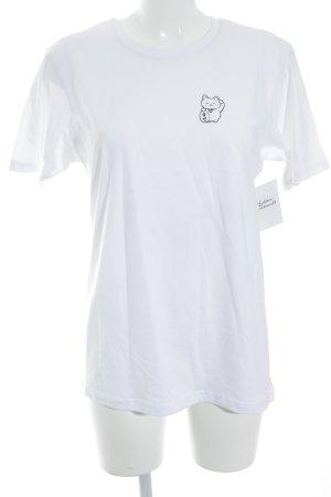 T-shirt wit-zwart prints met een thema casual uitstraling