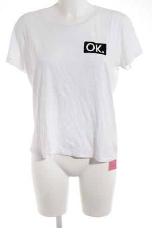 T-Shirt weiß-schwarz Schriftzug gedruckt Street-Fashion-Look