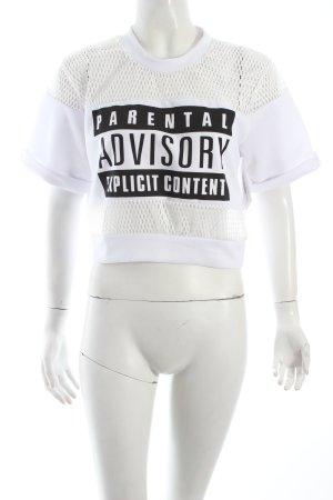 T-Shirt weiß-schwarz Schriftzug gedruckt Urban-Look