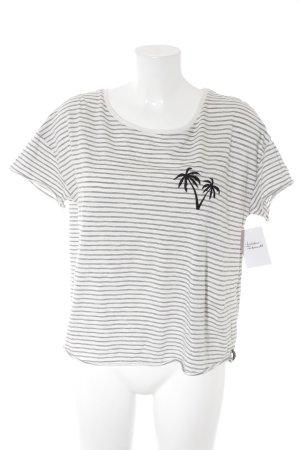 T-Shirt weiß-schwarz Streifenmuster Casual-Look