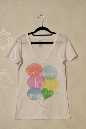 T - Shirt Weiß Vneck Printshirt Girlycut Live Love Laugh Bunt Pastell