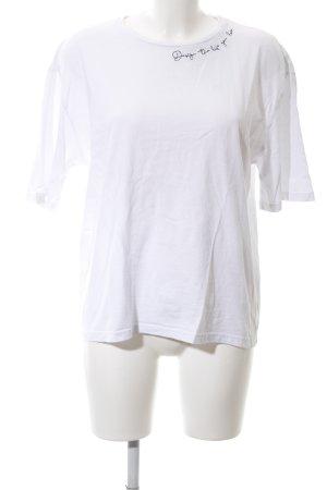 T-Shirt wollweiß-schwarz Casual-Look