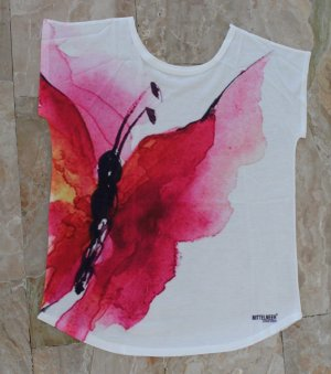 T-Shirt WOW Schmetterling PINK Mittelmeer Vintage Design NEU Gr. M - L