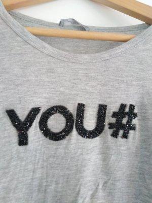 t-shirt you von Zara Grau schearz Glitzer