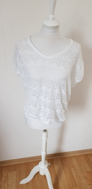 Zara Gehaakt shirt wit Katoen