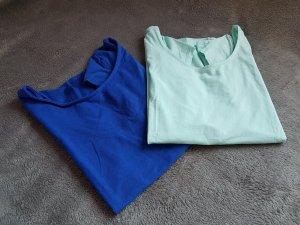 T-Shirts H&M Mint Kobaltblau Blau tiefer Rückenausschnitt Gr. S