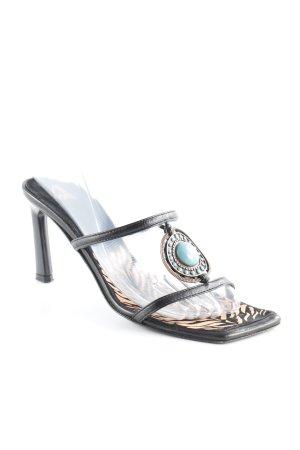 T-Steg-Sandaletten schwarz-kadettblau extravaganter Stil