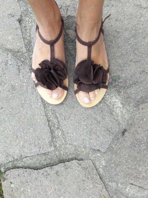 T-Steg Schuhe * Braun * Sandalen * Riemchen-Sandalen